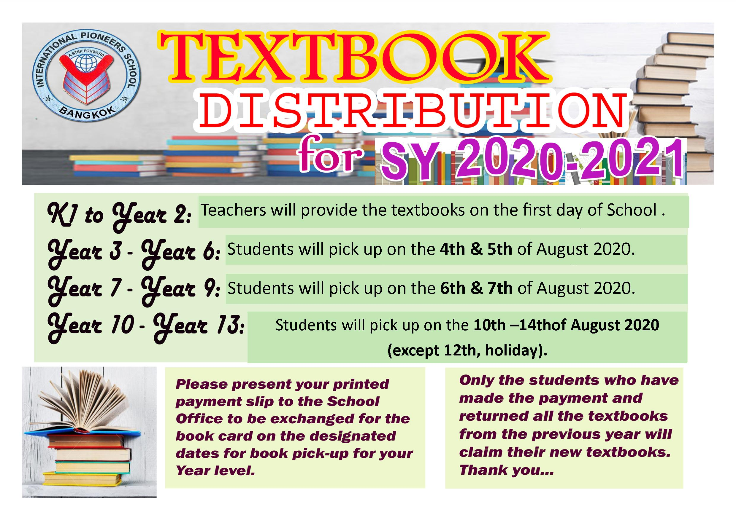 INTERNATIONAL PIONEERS SCHOOL TEXTBOOKS DISTRIBUTION S.Y. 2020-2021